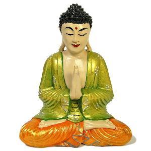 木彫りの仏陀 坐像 H [H.32cm] アジアン雑貨 バリ雑貨 おしゃれな 癒しの置物 仏像コレクション|angkasa