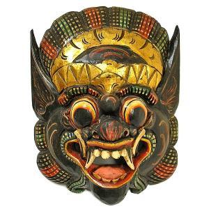 木彫りのお面 マスク 『バロン』 壁掛け L Aタイプ [縦約35cmx横28cm]  アジアン雑貨 バリ雑貨 |angkasa