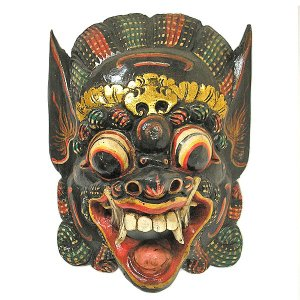 木彫りのお面 マスク 『バロン』 壁掛け L Bタイプ [縦約36cmx横27cm]  アジアン雑貨 バリ雑貨 |angkasa
