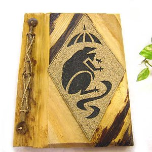 アジアン雑貨 バリ雑貨 天然リーフのアドレス帳 Mサイズ 黒カエル 白|angkasa