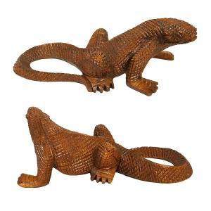 木彫りのコモドドラゴン [全長19cm]ハンドメイド アジアン雑貨 バリ タイ エスニック アニマル 装飾 |angkasa