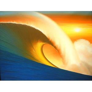 アジアン雑貨 バリ雑貨 バリ絵画 L横 『Big wave in Sunset』 angkasa