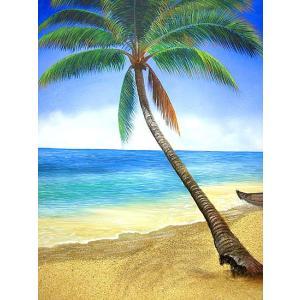アジアン バリ雑貨 バリアート絵画 特大 縦 M.Santo『椰子の木とSeaside』F [額縦約99cmx横79cm]|angkasa