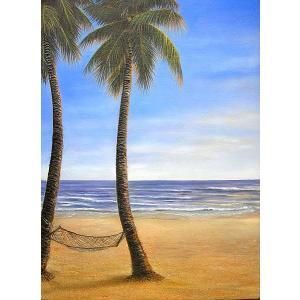 アジアン雑貨 バリ雑貨 バリアート絵画 特大 縦 M.Santo『椰子の木とSeaside』G [額縦約99cmx横79cm]|angkasa