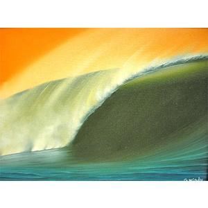 アジアン雑貨 バリ雑貨 バリアート絵画 M 横 Windy 『Seaside in Sunset』 angkasa