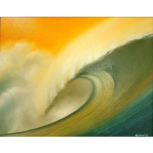 アジアン雑貨 バリ雑貨 バリ絵画 L横 『Big wave in Sunset』 A angkasa