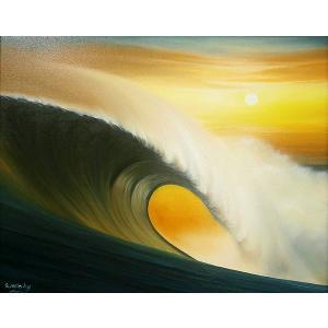 アジアン雑貨 バリ雑貨 バリ絵画 L横 『Big wave in Sunset』 B angkasa