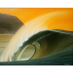 アジアン雑貨 バリ雑貨 バリ絵画 L横 『Big wave in Sunset』E angkasa