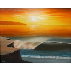 アジアン雑貨 バリ雑貨 バリ絵画 L横 『Big wave in Sunset』 H angkasa