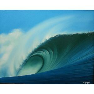 【送料無料】バリアート絵画L横Windy 『Big wave』K アジアン雑貨 バリ雑貨 バリ絵画|angkasa