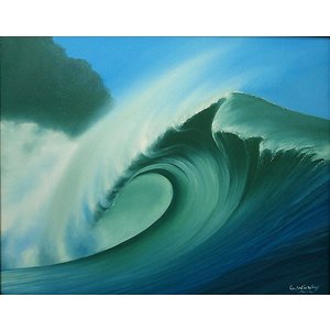 【送料無料】バリアート絵画L横Windy 『Big wave』L アジアン雑貨 バリ雑貨 バリ絵画|angkasa