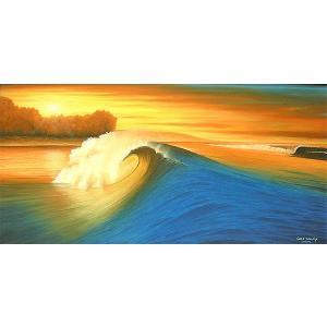 アジアン雑貨 バリ雑貨 バリアート絵画 LL 横 『Big Wave in Sunset』 [額横約92.5cmx縦52.5cm]|angkasa