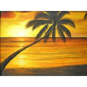 アジアン雑貨 バリ雑貨 バリアート絵画 M 横 M.Santo 『椰子の木とサンセットビーチ』 [額横約53cmx縦43cm] angkasa