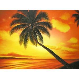 アジアン雑貨 バリ雑貨 バリアート絵画 L 横 M.Santo 『椰子の木とサンセットビーチ』  [額横約63cmx縦53cm]|angkasa