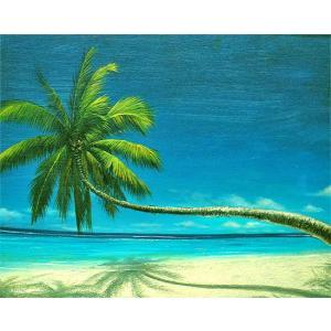アジアン雑貨 バリ雑貨 バリアート絵画 L 横 M.Santo 『椰子の木とSeaside』 [額横約63cmx縦53cm]|angkasa