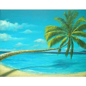 アジアン雑貨 バリ雑貨 バリアート絵画 L 横 M.Santo 『椰子の木とSeaside』 [額横約63cmx縦53cm] angkasa