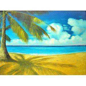 アジアン雑貨 バリ雑貨 バリ絵画 バリアート絵画 L 横 M.Santo 『椰子の木とSeaside』 [額横約63cmx縦53cm] angkasa