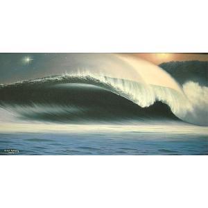 アジアン雑貨 バリ雑貨 バリアート絵画 LL 横  『Moonlight Big Wave』 Windy Special Order作品 [額横約94cmx縦54cm]|angkasa