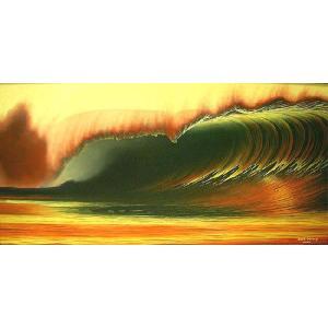 アジアン雑貨 バリ雑貨 バリアート絵画 LL 横 『Big Wave in Sunset』 Windy Special Order作品 [額横約94cmx縦54cm]|angkasa