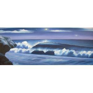アジアン雑貨 バリ雑貨 バリアート絵画 特大 横 『Moonlight Big Wave』 Windy Special Order作品 [額横約134cmx縦63cm]|angkasa