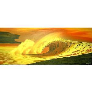 アジアン雑貨 バリ雑貨 バリアート絵画 特大 横 『Big Wave in Sunset』 Windy Special Order作品 [額横約134cmx縦63cm]|angkasa