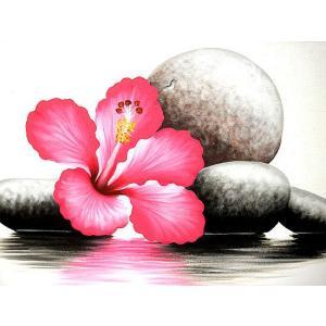 アジアン雑貨 バリ雑貨 バリアート絵画 LL 横 『水辺のハイビスカス w/ stones』 濃ピンク 額横約73cmx63cm|angkasa