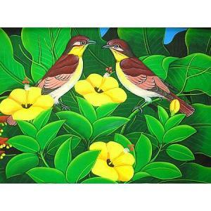 アジアン雑貨 バリ雑貨 バリアート絵画 M 横 森の小鳥達 薄茶黄花|angkasa