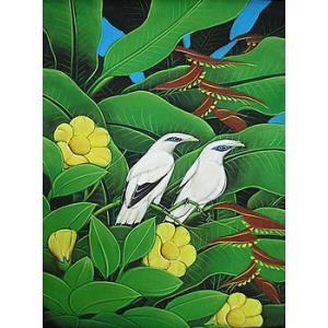 アジアン雑貨 バリ雑貨 バリ絵画 M縦 花鳥風月 森の小鳥達 黄花|angkasa