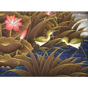 アジアン雑貨 バリ雑貨 バリアート絵画 M 横 水辺の小鳥達 ブラウン|angkasa