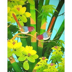 アジアン雑貨 バリ雑貨 バリ絵画 L 縦 森の小鳥達 オレンジ尾 angkasa