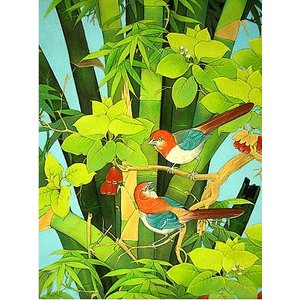 アジアン雑貨 バリ雑貨 バリ絵画 L 縦 森の小鳥達 バンブー angkasa