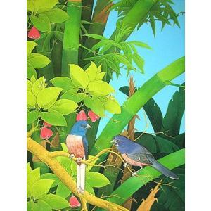 アジアン雑貨 バリ雑貨 バリ絵画 L 縦 森の小鳥達 青羽 バンブー angkasa