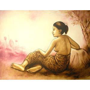 アジアン雑貨 バリ雑貨 バリ アート 絵画 特大 横 木陰で休むバリの女性 人物画 インテリア 現代アート|angkasa