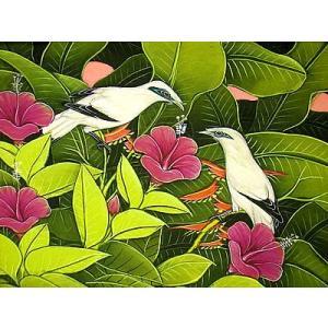 アジアン雑貨 バリ雑貨 バリアート絵画 M 横 森の小鳥達 紫花|angkasa