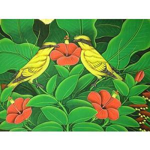 アジアン雑貨 バリ雑貨 バリアート絵画 M 横 森の小鳥達 黄 赤花|angkasa