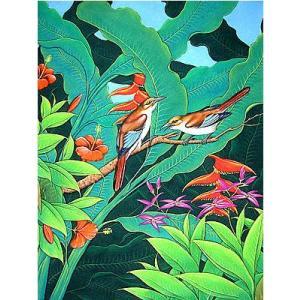 アジアン雑貨 バリ雑貨 バリ絵画 L 縦 森の小鳥達 バナナリーフ茶 angkasa