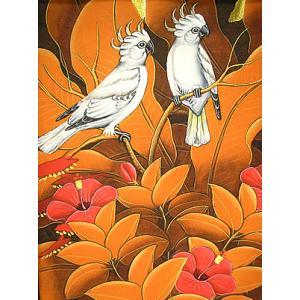 アジアン雑貨 バリ雑貨 バリ絵画 M縦 花鳥風月 森の小鳥達 白 オレンジリーフ|angkasa