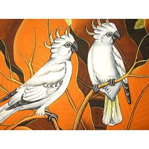 アジアン雑貨 バリ雑貨 バリ絵画 M縦 花鳥風月 森の小鳥達 白 オレンジリーフ|angkasa|02