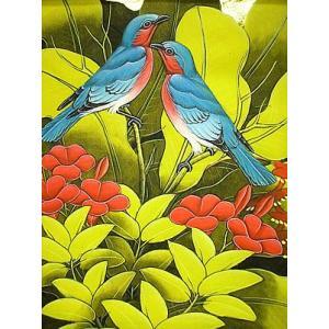 アジアン雑貨 バリ雑貨 バリ バリアート絵画 M 縦 森の小鳥達  薄青  黄葉|angkasa