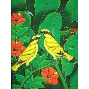 アジアン雑貨 バリ雑貨 バリ絵画 M縦 花鳥風月 森の小鳥達 黄 赤花 |angkasa
