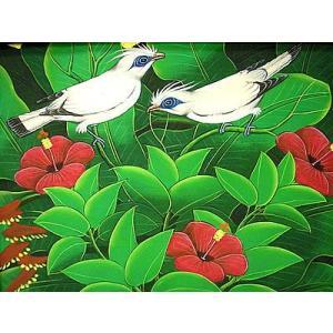 アジアン雑貨 バリ雑貨 バリ絵画 M横 花鳥風月 森の小鳥達 白 赤花|angkasa