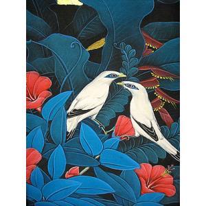 アジアン雑貨 バリ雑貨 バリ絵画 M縦 花鳥風月『森の小鳥達 白 青バナナリーフ|angkasa