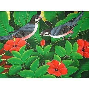 アジアン雑貨 バリ雑貨 バリアート絵画 M 横 森の小鳥達 グレー 赤花|angkasa