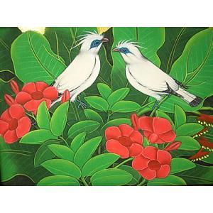 アジアン雑貨 バリ雑貨 バリ アート絵画 M 横 森の小鳥達 白 赤花|angkasa