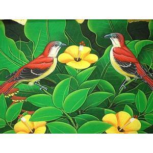 アジアン雑貨 バリ雑貨 バリアート絵画 M 横 森の小鳥達 赤背 黄花|angkasa