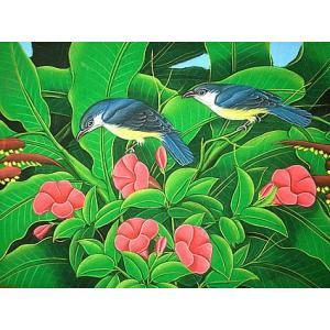 アジアン雑貨 バリ雑貨 バリアート絵画 M 横 森の小鳥達 濃青 赤花|angkasa
