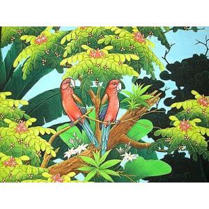アジアン雑貨 バリ雑貨 バリ絵画 Lサイズ 横 森の小鳥達  赤インコ angkasa