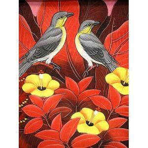 アジアン雑貨 バリ雑貨 バリ アート絵画 S 縦 森の小鳥達 グレー・赤葉|angkasa