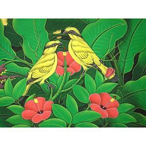 アジアン雑貨 バリ雑貨 バリアート絵画 M 横 森の小鳥達 赤花 黄インコ |angkasa