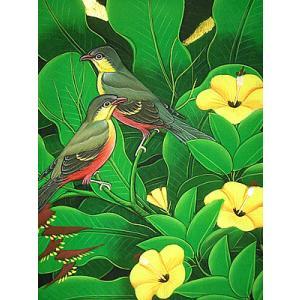 アジアン雑貨 バリ雑貨 バリ アート絵画 M 縦  森の小鳥達 黄花 バナナリーフ|angkasa